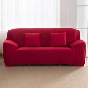 Nibesser Housse de Canapé 1 2 3 4 Places Couverture Extensible Pur Couleur Décor de la Salon (145-185cm, rouge) de la marque Nibesser image 0 produit