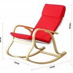 orolay confortable Fauteuil à bascule relax chaise Chaise Lounge avec coussin en tissu en coton Crème - Rouge de la marque image 4 produit