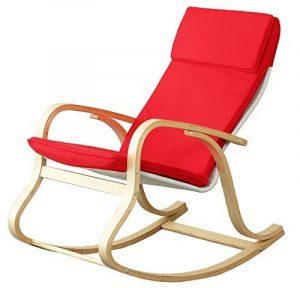 orolay confortable Fauteuil à bascule relax chaise Chaise Lounge avec coussin en tissu en coton Crème - Rouge de la marque Orolay image 0 produit