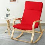 orolay confortable Fauteuil à bascule relax chaise Chaise Lounge avec coussin en tissu en coton Crème - Rouge de la marque Orolay image 1 produit