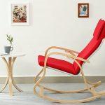 orolay confortable Fauteuil à bascule relax chaise Chaise Lounge avec coussin en tissu en coton Crème - Rouge de la marque Orolay image 2 produit
