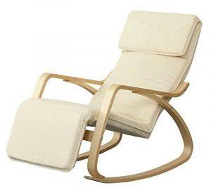 Orolay Fauteuil à bascule avec repose-pieds réglable design Berçante Relax Bouleau Flexible blanc de la marque image 0 produit
