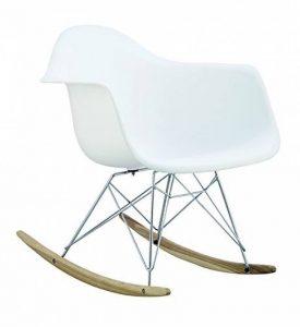 Promo 1 x Fauteuil à Bascule Rocking Chair Eiffel Pieds Bois Clair Assise Blanc Mobistyl® RARL-WH-1 de la marque image 0 produit
