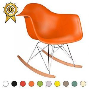 Promo 1 x Fauteuil à Bascule Rocking Chair Eiffel Pieds Bois Clair Assise Orange Mobistyl® RARL-OR-1 de la marque image 0 produit