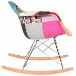 Promo 1 x Fauteuil à Bascule Rocking Chair Eiffel Pieds Bois Clair Assise Patchwork Couleur Mobistyl® RARL-PC-1 de la marque MOBISTYL image 2 produit