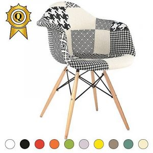 Promo 1 x Fauteuil Design Retro Eiffel Inspiration Eiffel Pieds en Bois Naturel Patchwork Noir Blanc Mobistyl® DAWL-PN-1 de la marque MOBISTYL image 0 produit