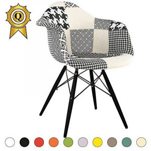 Promo 1 x Fauteuil Design Retro Eiffel Inspiration Eiffel Pieds en Bois Noir Assise Patchwork Noir Blanc Mobistyl® DAWB-PN-1 de la marque MOBISTYL image 0 produit