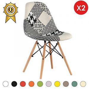 Promo 2 x Chaise Design Inspiration Eiffel Pieds Bois Clair Assise Patchwork Noir Blanc Mobistyl® DSWL-PN-2 de la marque image 0 produit