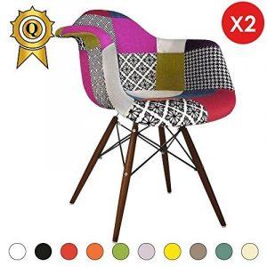 Promo 2 x Fauteuil Design Retro Eiffel Inspiration Eiffel Pieds en Bois Vernis Noyer Assise Patchwork Couleur Mobistyl® DAWD-PC-2 de la marque MOBISTYL image 0 produit
