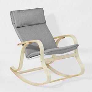 Promotion -20%! SoBuy® FST15-DG Rocking Chair, Fauteuil à bascule, Fauteuil berçant, Fauteuil relax, Bouleau Flexible -Gris de la marque image 0 produit