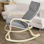 Promotion -20%! SoBuy® FST15-DG Rocking Chair, Fauteuil à bascule, Fauteuil berçant, Fauteuil relax, Bouleau Flexible -Gris de la marque image 2 produit