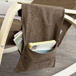 Promotion -20% ! SoBuy® FST18-BR Réponge plus épais ! Fauteuil à bascule Rocking Chair avec repose-pieds réglable Café, Bouleau Flexible + 1 pochette latérale gratuite de la marque image 3 produit