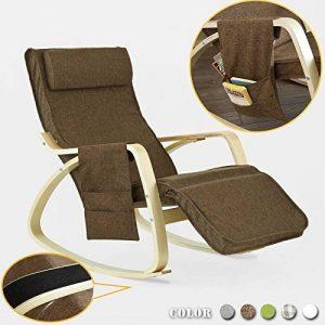 Promotion -20% ! SoBuy® FST18-BR Réponge plus épais ! Fauteuil à bascule Rocking Chair avec repose-pieds réglable Café, Bouleau Flexible + 1 pochette latérale gratuite de la marque SoBuy image 0 produit