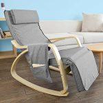 Promotion -20%! SoBuy® FST18-DG éponge plus épais, Rocking Chair Fauteuil à bascule berçante avec repose-pieds réglable Bouleau + 1 pochette latérale gratuite de la marque image 1 produit