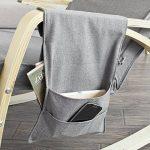 Promotion -20%! SoBuy® FST18-DG éponge plus épais, Rocking Chair Fauteuil à bascule berçante avec repose-pieds réglable Bouleau + 1 pochette latérale gratuite de la marque image 3 produit