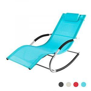 Promotion -28%! SoBuy® OGS28-HB Fauteuil à bascule Chaise longue Transat de jardin avec repose-pieds, Bain de soleil Rocking Chair - Turquoise de la marque image 0 produit