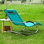 Promotion -28%! SoBuy® OGS28-HB Fauteuil à bascule Chaise longue Transat de jardin avec repose-pieds, Bain de soleil Rocking Chair - Turquoise de la marque image 2 produit