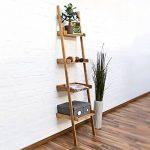 Relaxdays Étagère échelle en bambou 4 étages HxlxP : 176 x 44 x 37 cm salon salle de bain Rangement séjour Cuisine décoration bureau, nature de la marque image 1 produit