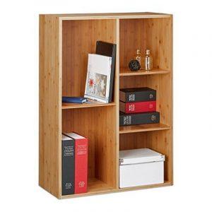 Relaxdays Etagère en bambou 5 compartiments vertical ou horizontal bibliothèque CD DVD HxlxP: 89 x 63,5 x 29,5 cm, nature de la marque image 0 produit