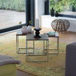 Relaxdays Table gigogne lot de 3 HxlxP: 42 x 40 x 40 cm table basse appoint plateau carré en bois avec pieds en métal salon bout de canapé, nature de la marque image 1 produit