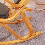 Rocking-chair, fauteuil à bascule M41, imitation bois de chêne, assise en cuir Patchwork, marron de la marque Mendler image 4 produit