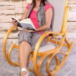 Rocking-chair, fauteuil à bascule M41, imitation chêne, tissu beige de la marque image 1 produit