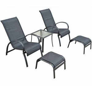 Salon de jardin textilene bain de soleil chaise longue x 2 + tabouret x 2 + table basse en alu noir 29 de la marque Homcom image 0 produit