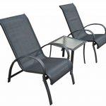 Salon de jardin textilene bain de soleil chaise longue x 2 + tabouret x 2 + table basse en alu noir 29 de la marque Homcom image 2 produit