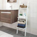 SoBuy® FRG32-W Étagère murale style échelle pour salon salle de bain Meuble de rangement L33xH121xP23cm -3 étages, Blanc de la marque image 1 produit