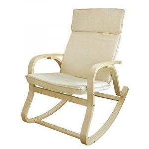 SoBuy® FST15-W Fauteuil à bascule, Fauteuil berçant, Rocking Chair, Fauteuil relax, Bouleau Flexible -Beige de la marque image 0 produit