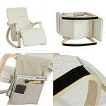 SoBuy FST16-W Fauteuil à bascule avec repose-pieds réglable design, Rocking Chair, Fauteuil relax, Bouleau Flexible (Beige) + une pochette latérale gratuite ! de la marque image 4 produit