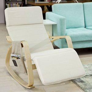 SoBuy FST16-W Fauteuil à bascule avec repose-pieds réglable design, Rocking Chair, Fauteuil relax, Bouleau Flexible (Beige) + une pochette latérale gratuite ! de la marque image 0 produit