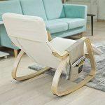 SoBuy FST16-W Fauteuil à bascule avec repose-pieds réglable design, Rocking Chair, Fauteuil relax, Bouleau Flexible (Beige) + une pochette latérale gratuite ! de la marque image 2 produit