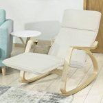SoBuy FST16-W Fauteuil à bascule avec repose-pieds réglable design, Rocking Chair, Fauteuil relax, Bouleau Flexible (Beige) + une pochette latérale gratuite ! de la marque SoBuy image 1 produit