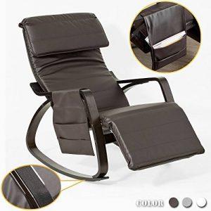 SoBuy® FST20-BR Eponge plus épais!! Fauteuil à bascule berçante relax avec pochette latérale amovible, Rocking Chair Bouleau Flexible de la marque image 0 produit