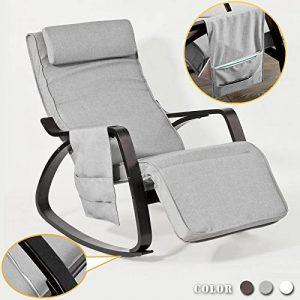 SoBuy® FST20-HG Eponge plus épais!! Fauteuil à bascule berçante relax avec pochette latérale amovible, Rocking Chair Bouleau Flexible de la marque image 0 produit