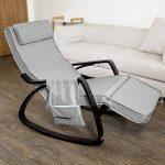 SoBuy® FST20-HG Eponge plus épais!! Fauteuil à bascule berçante relax avec pochette latérale amovible, Rocking Chair Bouleau Flexible de la marque image 2 produit