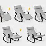 SoBuy® FST20-HG Eponge plus épais!! Fauteuil à bascule berçante relax avec pochette latérale amovible, Rocking Chair Bouleau Flexible de la marque image 6 produit