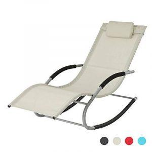 SoBuy® OGS28-MI Fauteuil à bascule Chaise longue Transat de jardin avec repose-pieds, Bain de soleil Rocking Chair - Crème de la marque image 0 produit