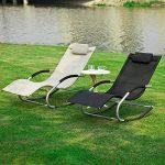 SoBuy® OGS28-MI Fauteuil à bascule Chaise longue Transat de jardin avec repose-pieds, Bain de soleil Rocking Chair - Crème de la marque image 4 produit