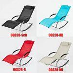 SoBuy® OGS28-MI Fauteuil à bascule Chaise longue Transat de jardin avec repose-pieds, Bain de soleil Rocking Chair - Crème de la marque image 5 produit