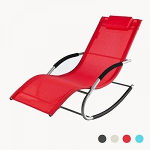 SoBuy® OGS28-R Fauteuil à bascule Chaise longue Transat de jardin avec repose-pieds, Bain de soleil Rocking Chair - Rouge de la marque image 0 produit