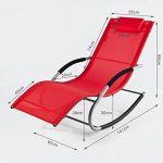 SoBuy® OGS28-R Fauteuil à bascule Chaise longue Transat de jardin avec repose-pieds, Bain de soleil Rocking Chair - Rouge de la marque image 1 produit