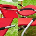SoBuy® OGS28-R Fauteuil à bascule Chaise longue Transat de jardin avec repose-pieds, Bain de soleil Rocking Chair - Rouge de la marque image 2 produit