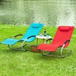 SoBuy® OGS28-R Fauteuil à bascule Chaise longue Transat de jardin avec repose-pieds, Bain de soleil Rocking Chair - Rouge de la marque image 6 produit