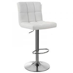 Songmics 1 x Chaise et Tabouret de bar avec Dossier blanc hauteur réglable 95-115 cm Blanc LJB64W-1 de la marque image 0 produit