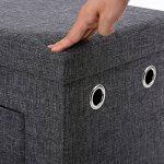 Songmics 76 x 38 x 38 cm Pouf Tabouret Coffre de Rangement Pliable tissu en lin avec 2 tiroirs Gris Foncé LSF41K de la marque image 4 produit