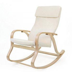 SONGMICS Fauteuil à bascule fauteuil berçante en bois bouleau Charge maximum: 120 kg beige LYY30M de la marque image 0 produit