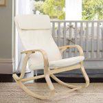 SONGMICS Fauteuil à bascule fauteuil berçante en bois bouleau Charge maximum: 120 kg beige LYY30M de la marque image 1 produit
