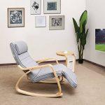 Songmics Fauteuil à bascule Rocking Chair avec Repose-pied réglable 5 niveaux Charge max 150 kg Gris LYY42G de la marque image 2 produit